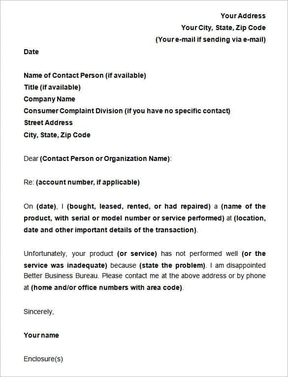 16 sample complaint letters sample letters word complaint letter example spiritdancerdesigns Gallery