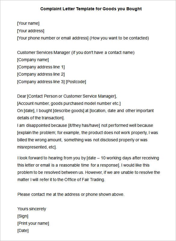 16 sample complaint letters sample letters word complaint letter for damaged goods complaint letter 60 download now spiritdancerdesigns Gallery