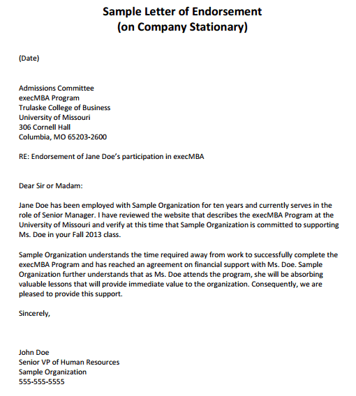 11 Sample Endorsement Letters Sample Letters Word – Endorsement Letter for Employment