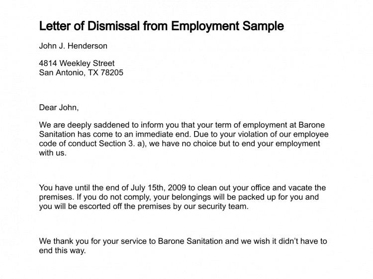 12 sample letters of dismissal sample letters word sample letter of dismissal spiritdancerdesigns Gallery
