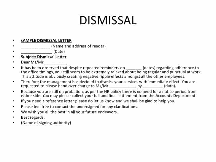 12 sample letters of dismissal sample letters word
