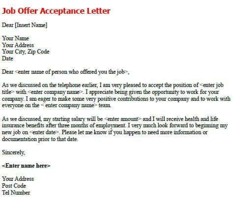 Sample Letters Word  Acceptance Letter For Job