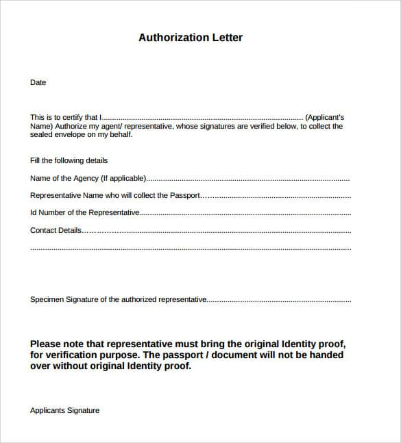 Authorization Letter Sample. Example Of Authorization Letter