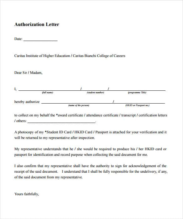 14 sample authorization letters sample letters word academic authorization letter spiritdancerdesigns Images