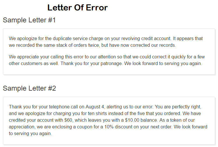 7 Sample Letter Of Error