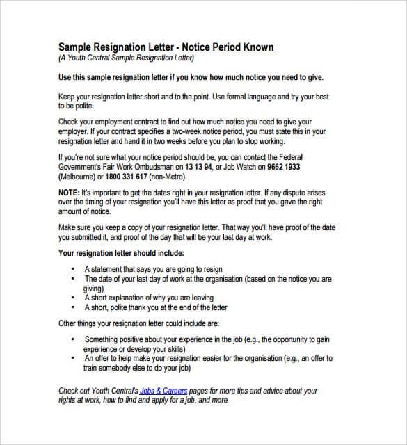 9 resignation letter sample sample letters word