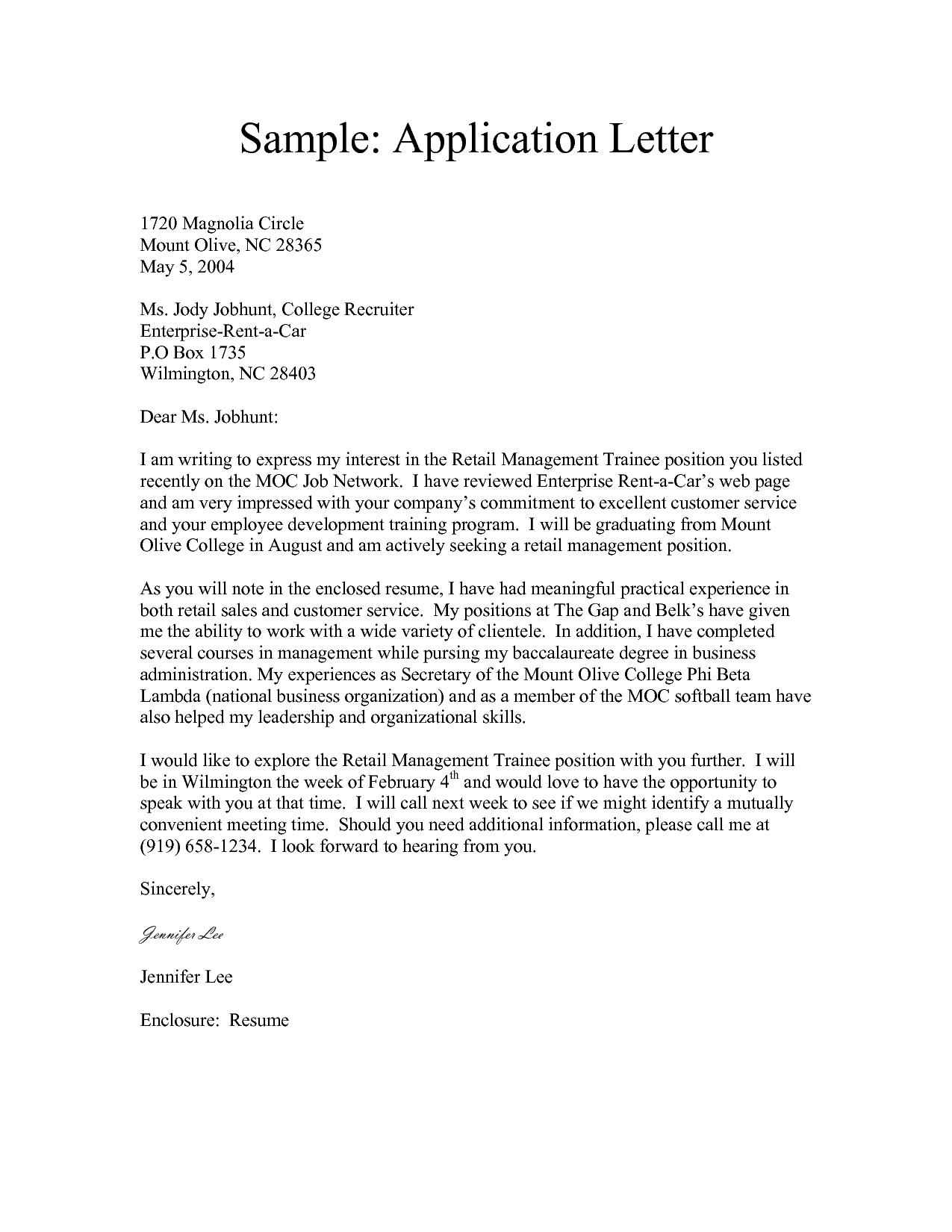 Awesome Sample Letters Word  Application Letter Sample