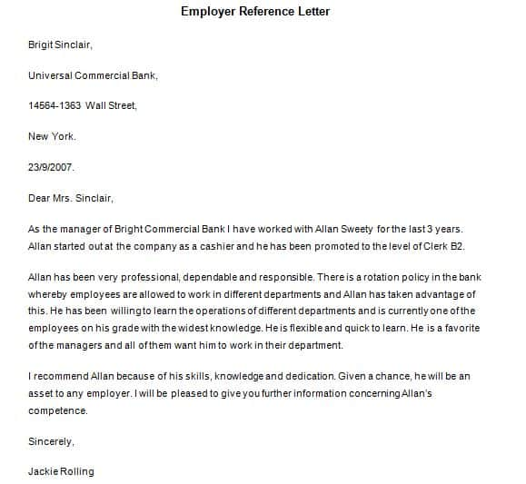 Reference Letter Samples  Sample Letters Word