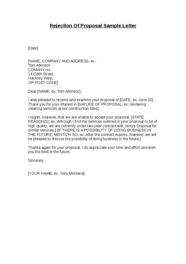 9 rejection letter samples sample letters word proposal rejection letter altavistaventures Image collections