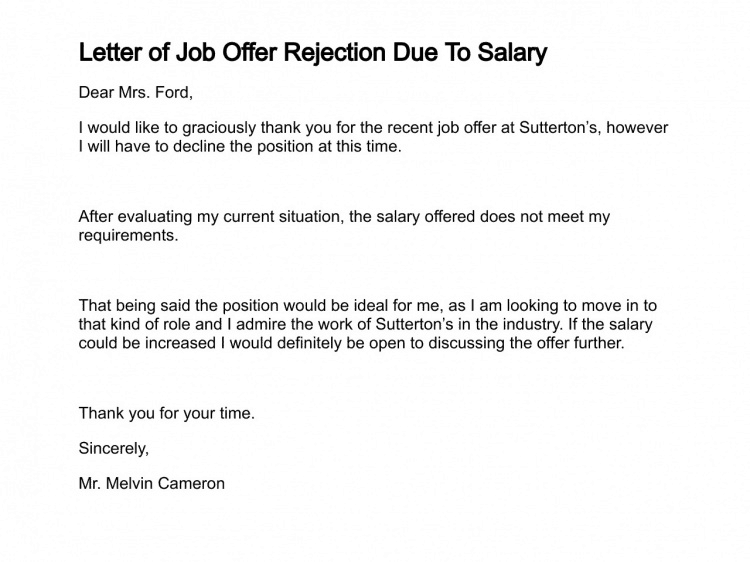 How to write a offer rejection letter image collections letter 9 rejection letter samples sample letters word job offer rejection letter due to salary rejection letter thecheapjerseys Image collections