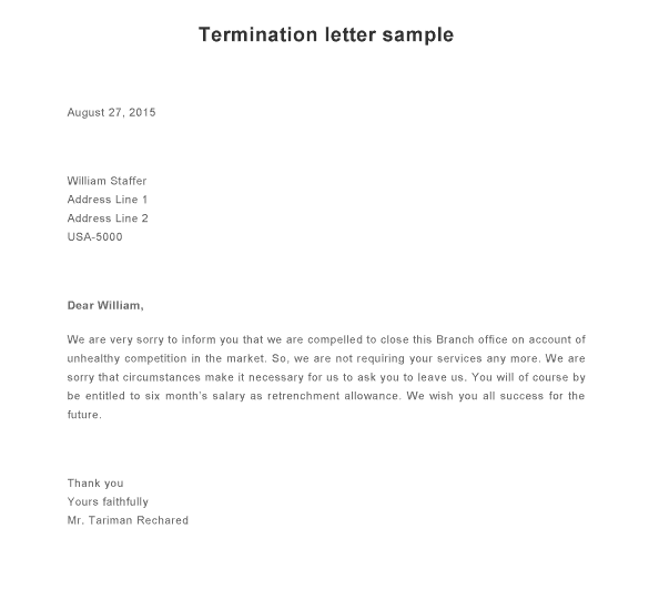 9 Termination Letter Samples Sample Letters Word – Termination Letters