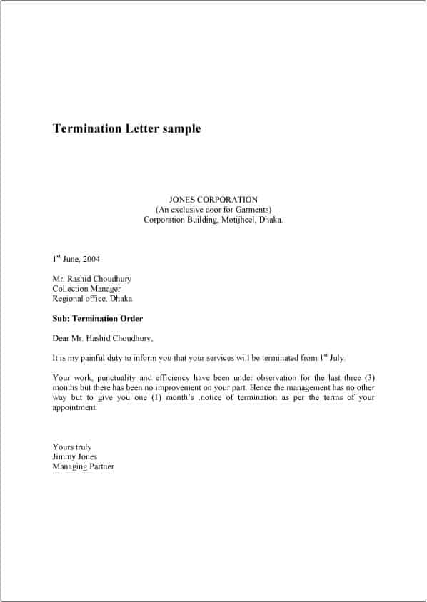 9 Termination Letter Samples Sample Letters Word