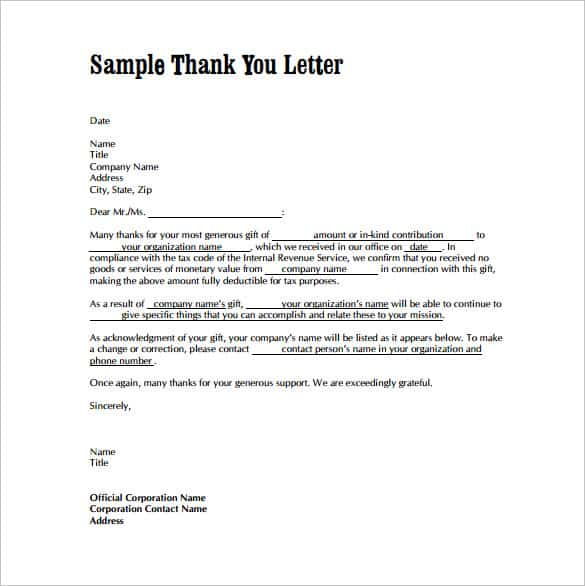Sample Letters Word  Thank You Letters