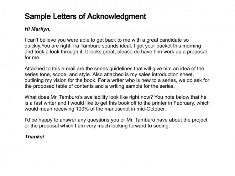 12+ Sample Acknowledgement Letters   Sample Letters Word