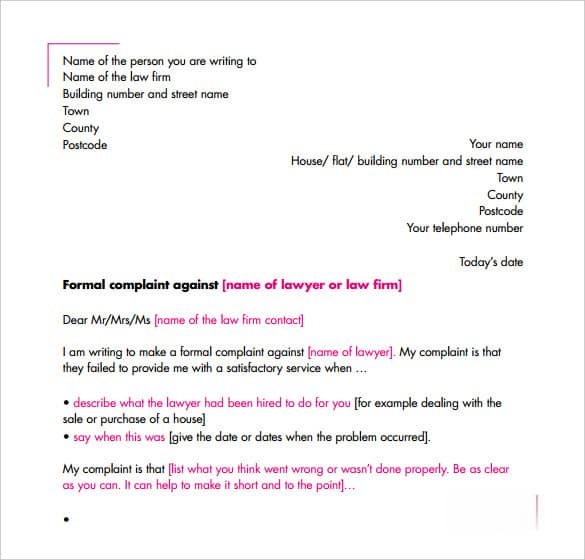 Professional Complaint Letter Template from www.sampleletterword.com