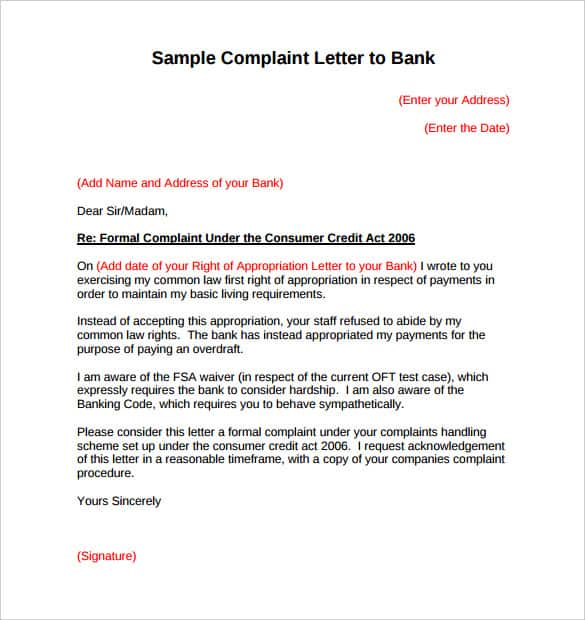 16+ Sample Complaint Letters - Writing Letters Formats
