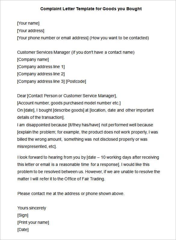 Complaint letter unsatisfactory service