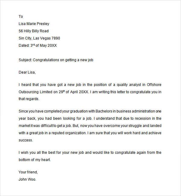 Congratulation Letter For New Job from www.sampleletterword.com