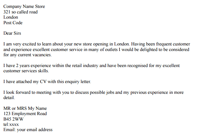 Inquiry Letter 100