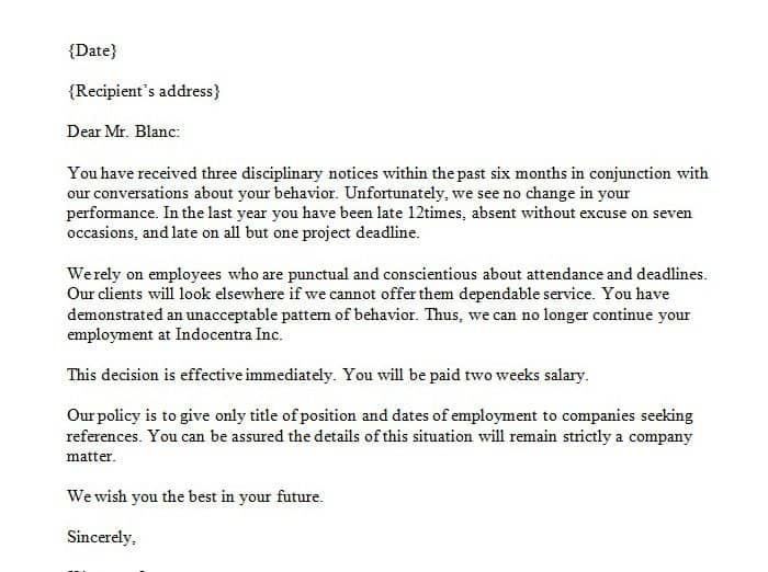 Letters Of Dismissal 103