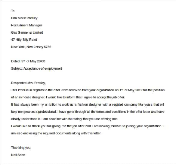 acceptance letter 101