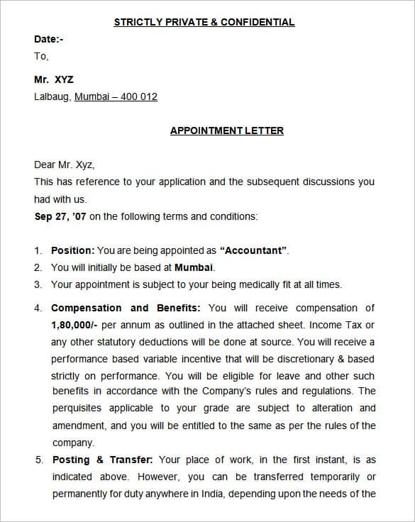 appointment letter 80
