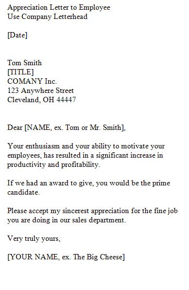 appreciation letter 100