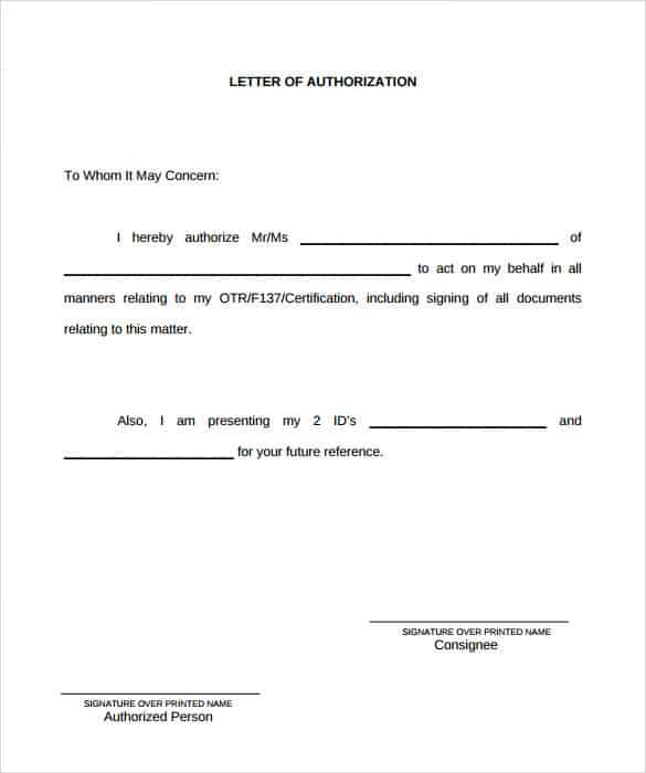 letter of authorization examples 138 authorization letters samples free writing 18089 | authorization letter 90