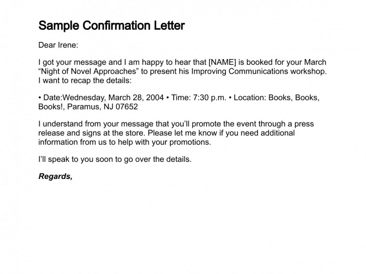 10 Sample Confirmation Letters Writing Letters Formats Examples