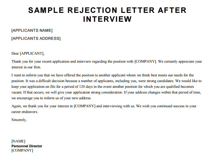 Denial Letter After Interview from www.sampleletterword.com
