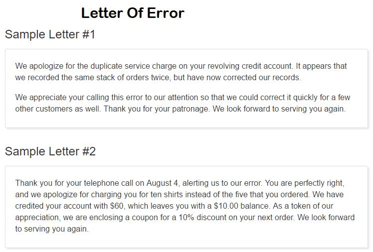 error letter 20