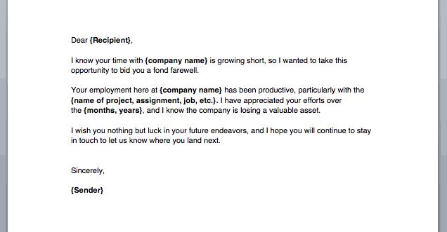 Letter To Employee Leaving from www.sampleletterword.com