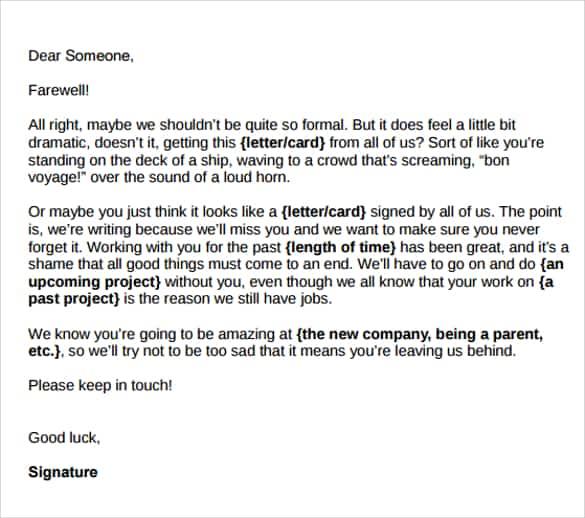 Sample Heartfelt Farewell Letter To Colleagues from www.sampleletterword.com