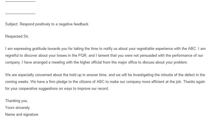 feedback letter 100