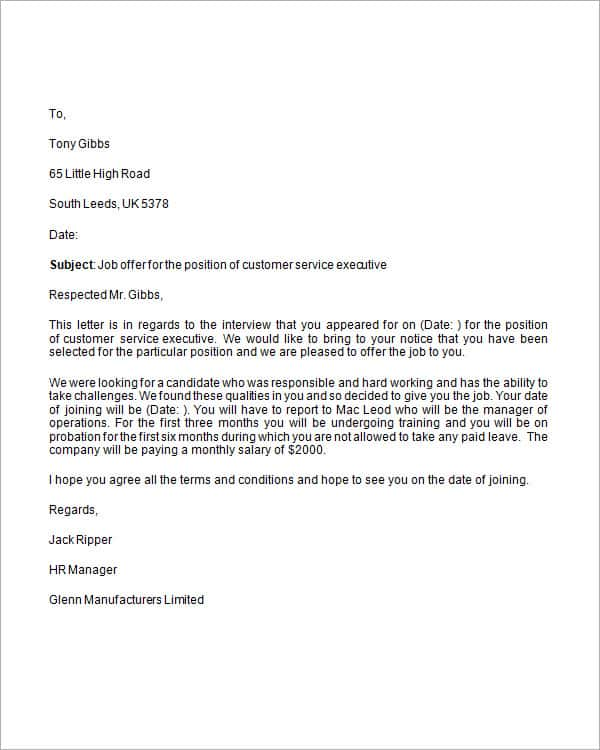 13 Sample Job Offer Letters Writing Letters Formats Examples