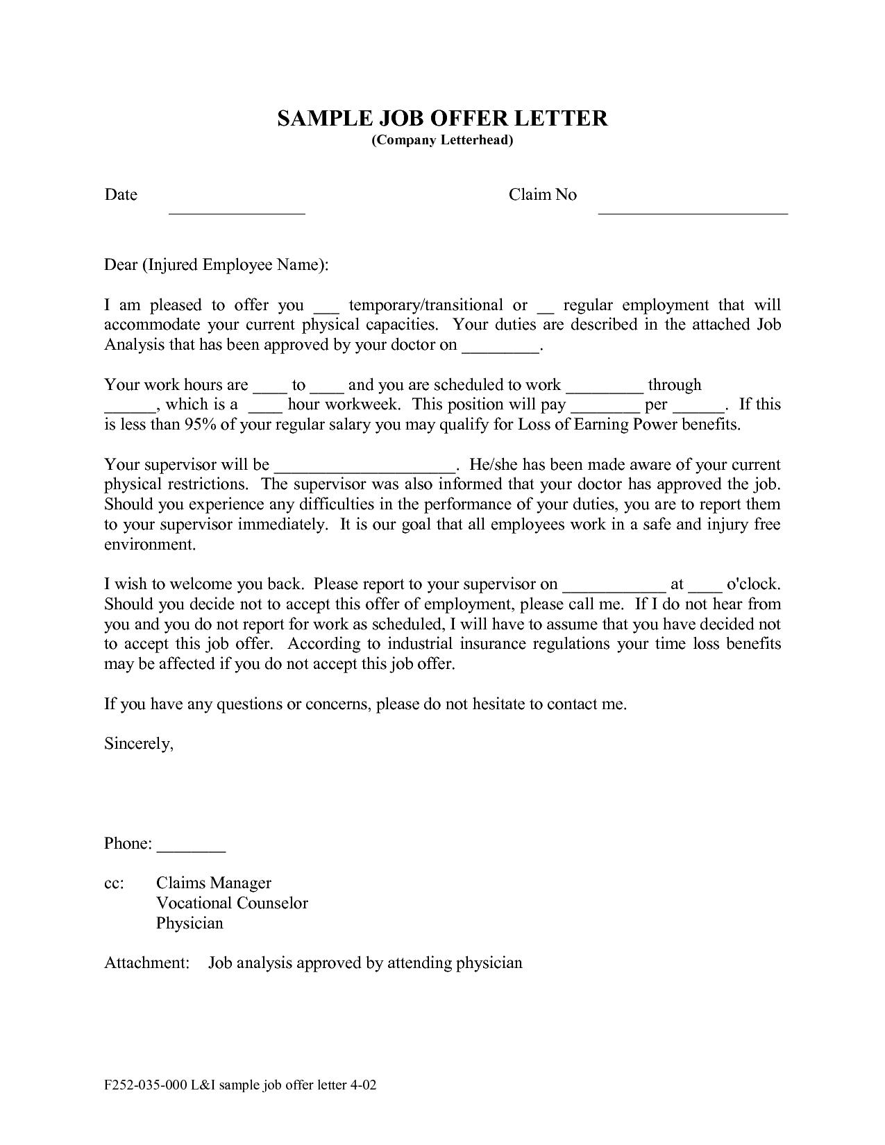 Employer Job Offer Letter from www.sampleletterword.com