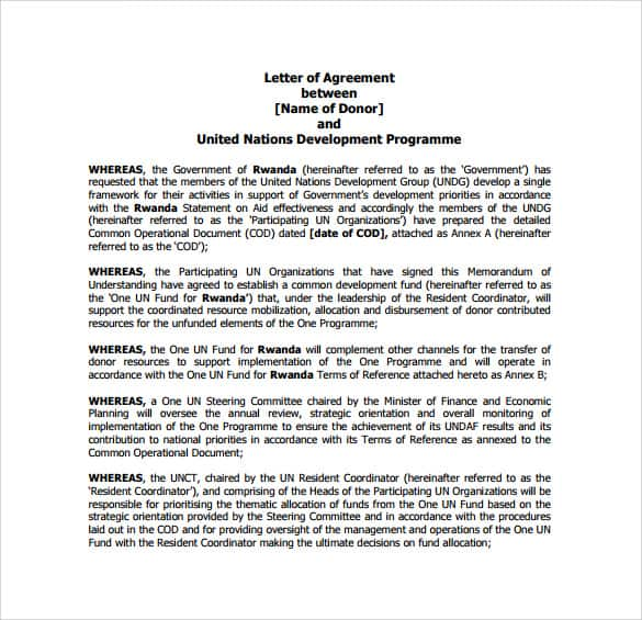 letter of agreement 102