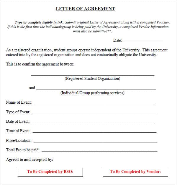 letter of agreement 20