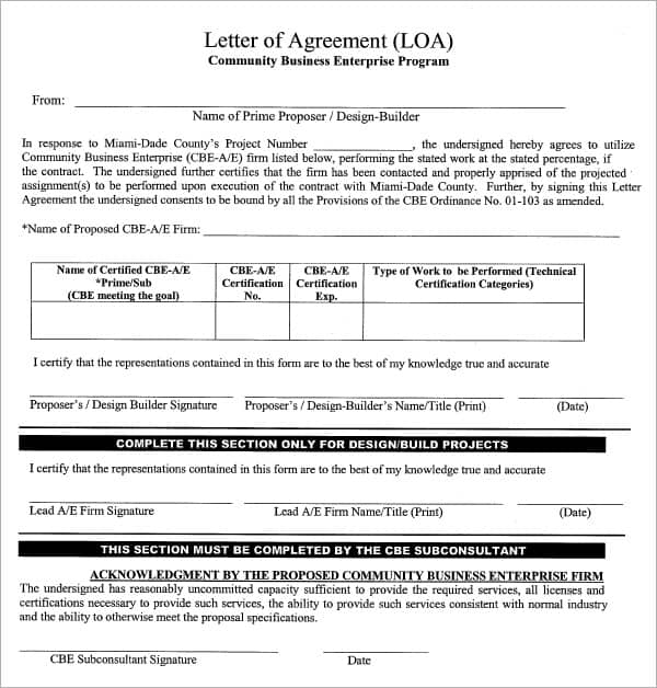 letter of agreement 70