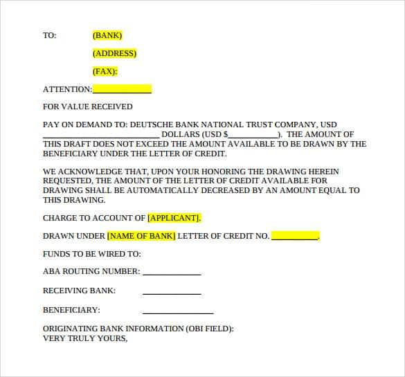 letter of credit 10