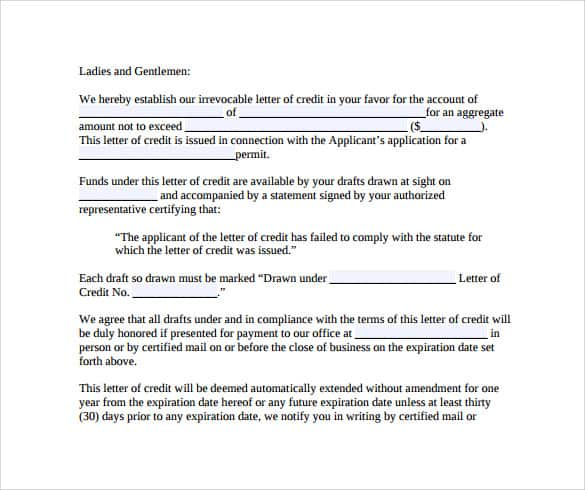 letter of credit 20