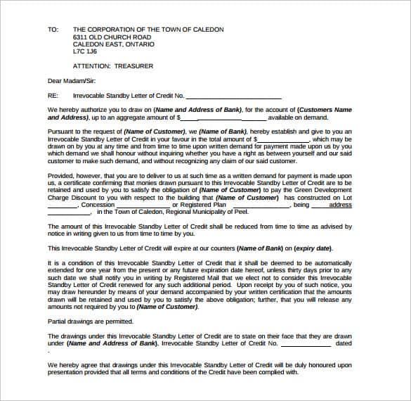 letter of credit 40