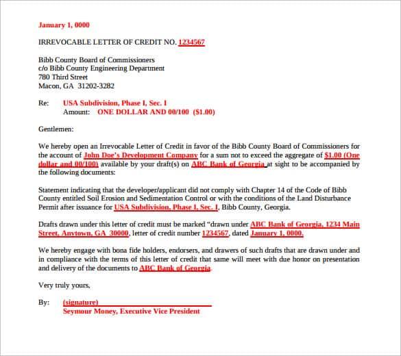 letter of credit 50