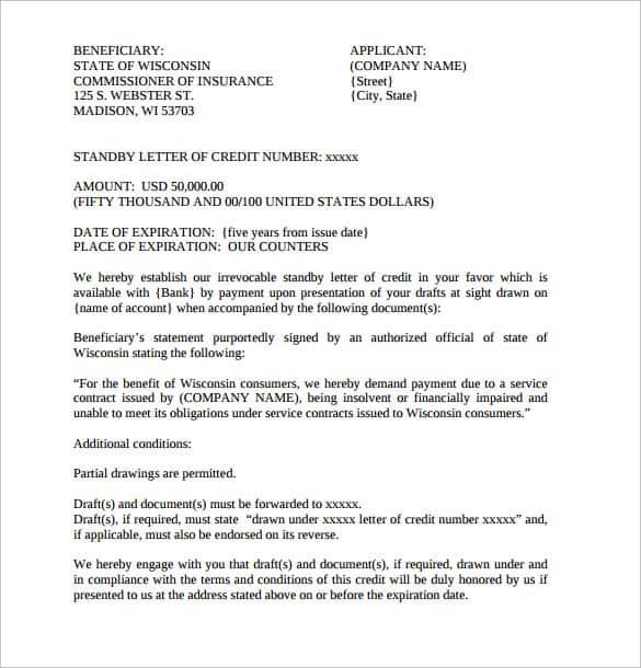 letter of credit 60