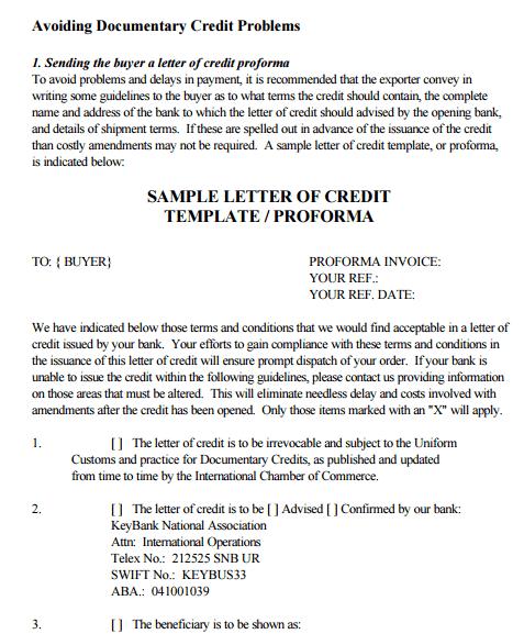 letter of credit 70