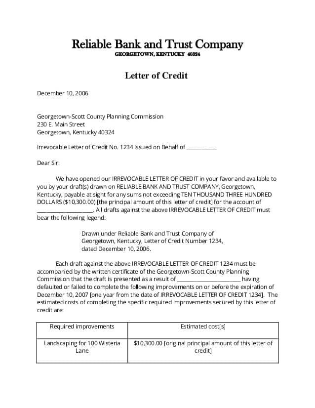 letter of credit 90
