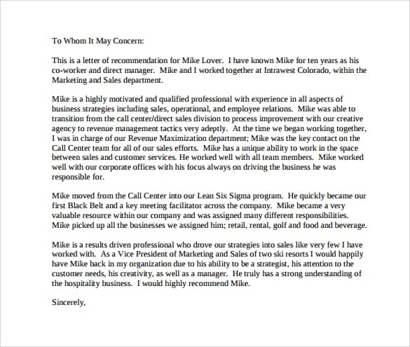 Sample Letter Of Recommnedation from www.sampleletterword.com