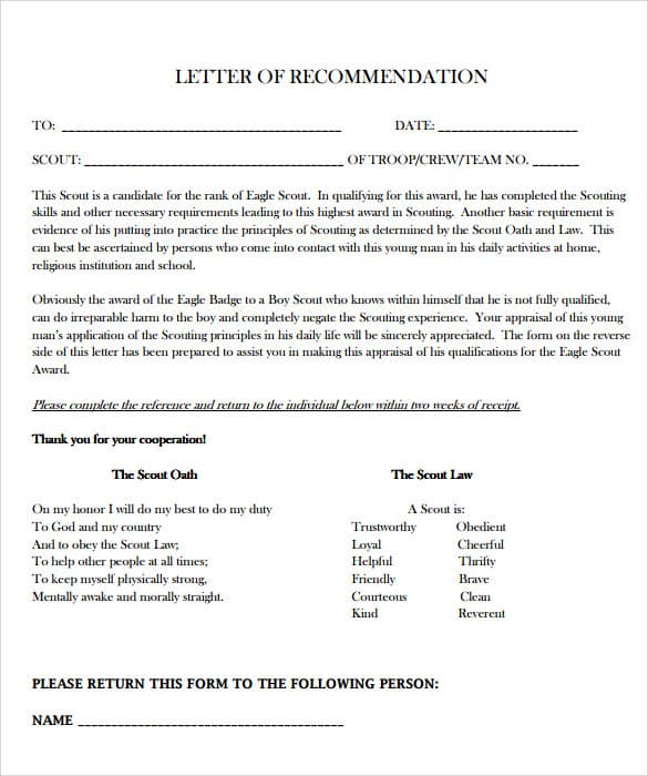 Form Letter Of Recommendation from www.sampleletterword.com