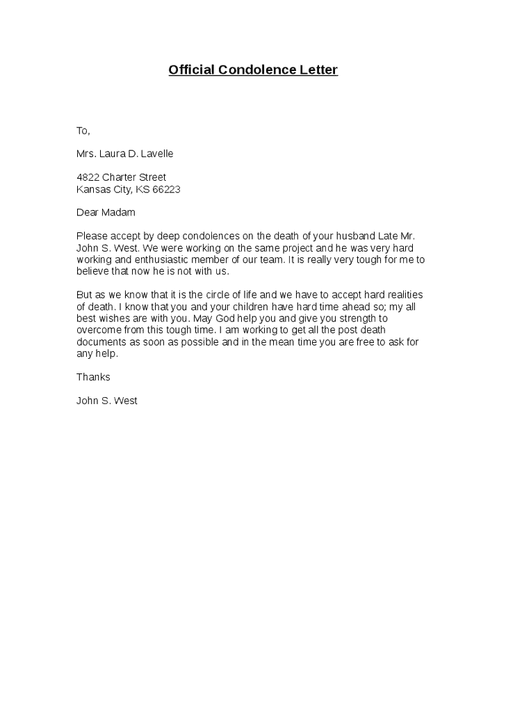 What To Say In A Condolence Letter from www.sampleletterword.com