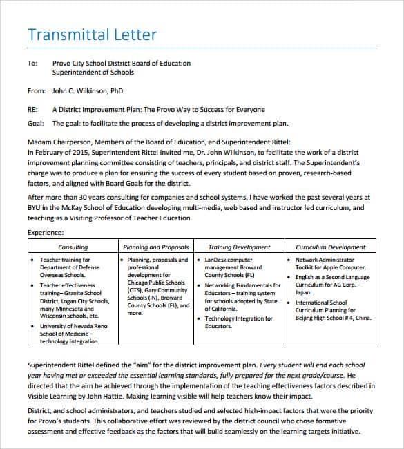 Letter Of Transmittal 005